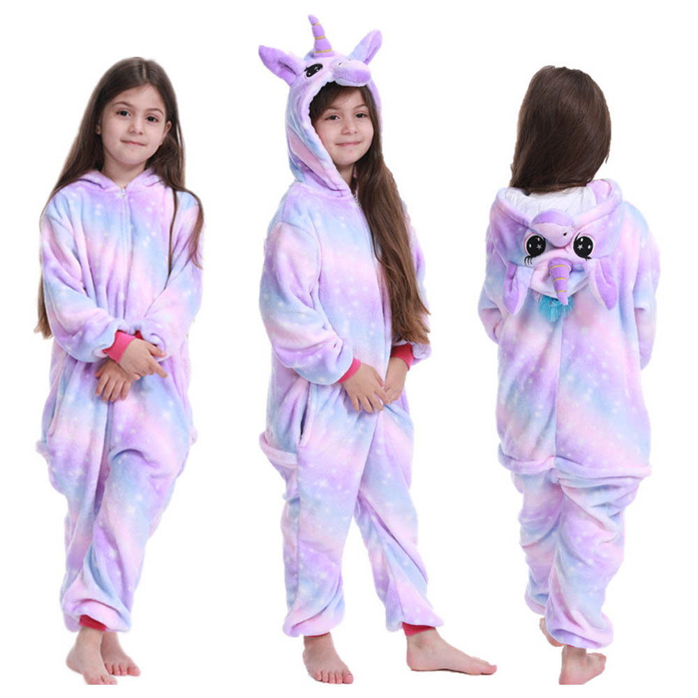 kids winter stich pajamas children panda dinosaur sleepwear unicorn kigurumi onesies for boys girls blanket sleeper baby costume 2