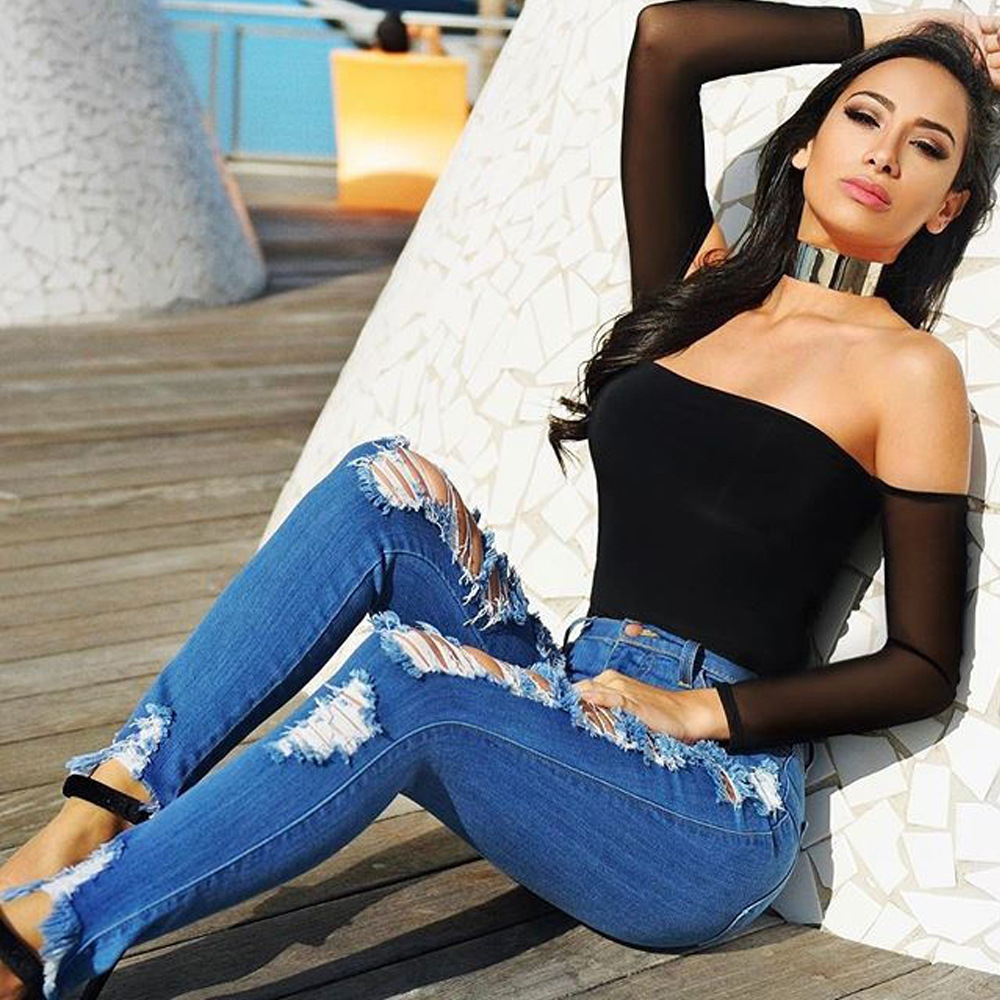 Plus Size Boyfriend Jeans For Women Streetwear Ripped Distressed High Waist Stretch Skinny Trousers Denim Push Up Slim Femme