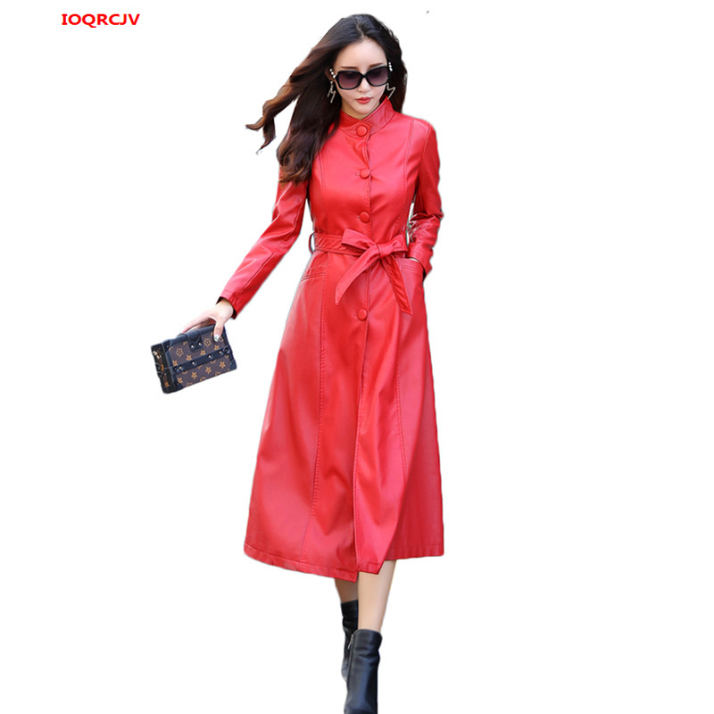 2019 Winter Women X-long   Leather   Jacket Coat Female Fashion Solid Stand Collar Single Breasted Women's Pu   Leather   Jacket W1431