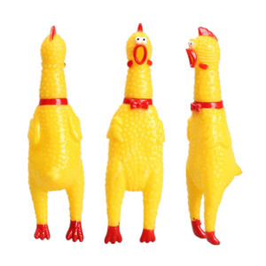 Hot Sale 16CM Yellow Rubber Screaming Chicken Pet Dog Toy Puppy Chew Squeak Venting Toys(China)
