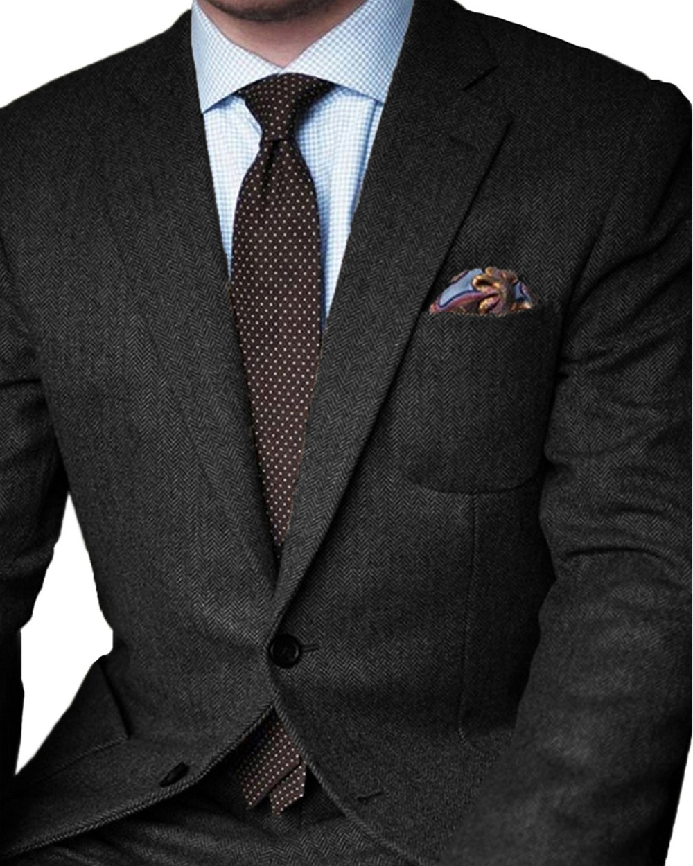 2020 Formal Winter Dark Grey Herringbone Business Men Suits Wedding Tailored Groom Tuxedo Slim Fit Groomsmen Blazer Masculino
