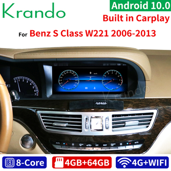 Krando Android 10.0 10.25'' car radio dvd navigation For Mercedes BENZ S W221 W216 CL 2005-2013 multimedia player 4G LTE image
