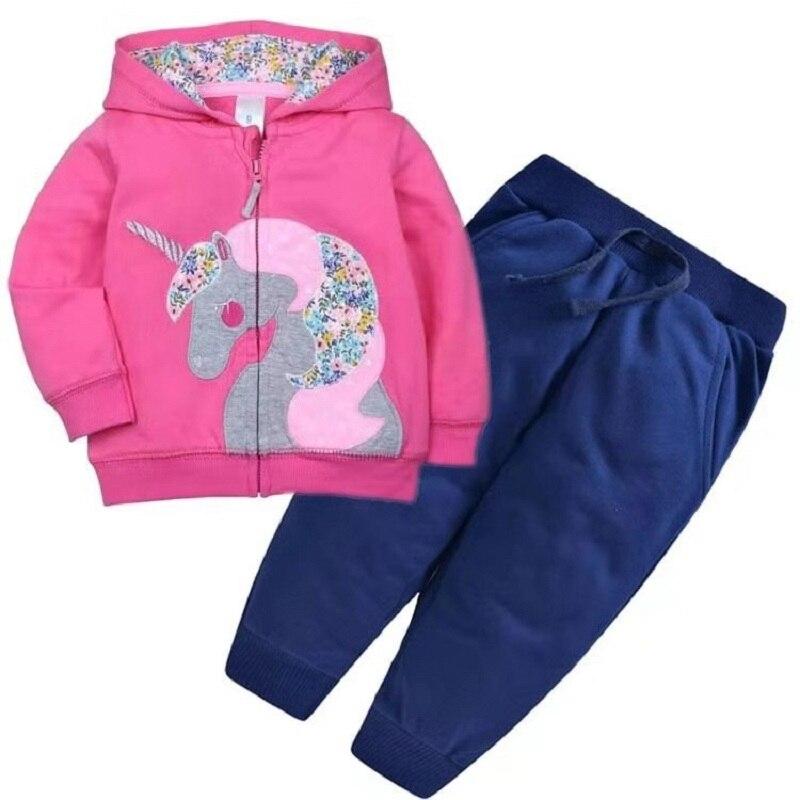 Одежда для маленьких девочек пальто с капюшоном с длинными рукавами и вышитым единорогом+ штаны, г. Весенняя одежда для маленьких мальчиков комплект для малышей, одежда для малышей - Цвет: 1