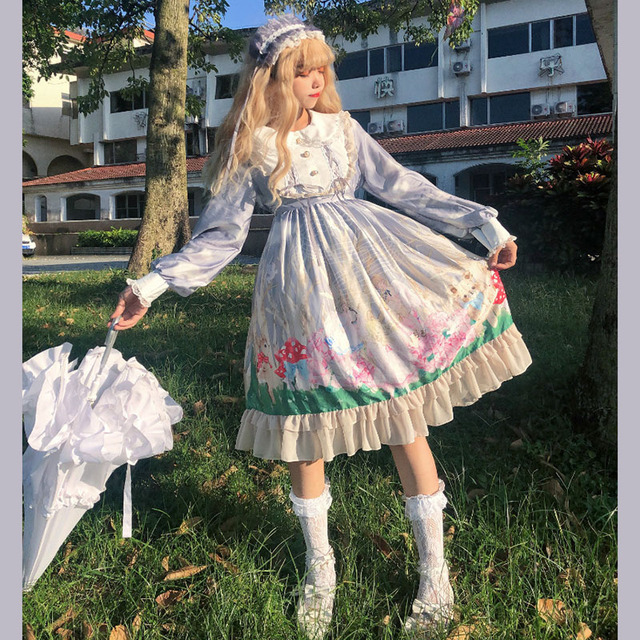 Automne douce Lolita robe palais princesse mignon ange forêt douce fille japonaise poupée col fille Op robe cos Costumes de femme de chambre