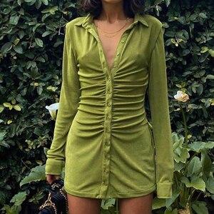 Seksowna Mini dopasowana sukienka damska zielona klubowa sukienka z kołnierzykiem krótkie sukienki elegancka damska koszula Streetwear Vestidos