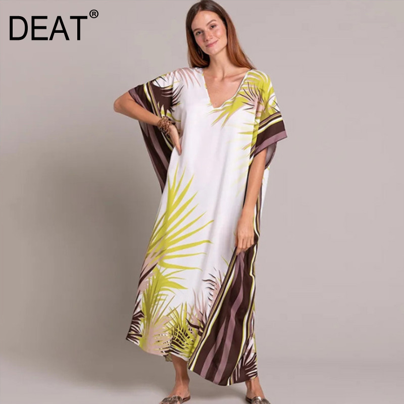 DEAT 2020 new V-neck batwing sleeves striped contrast colots pullover loose plus size dress vacation vestido WM85700