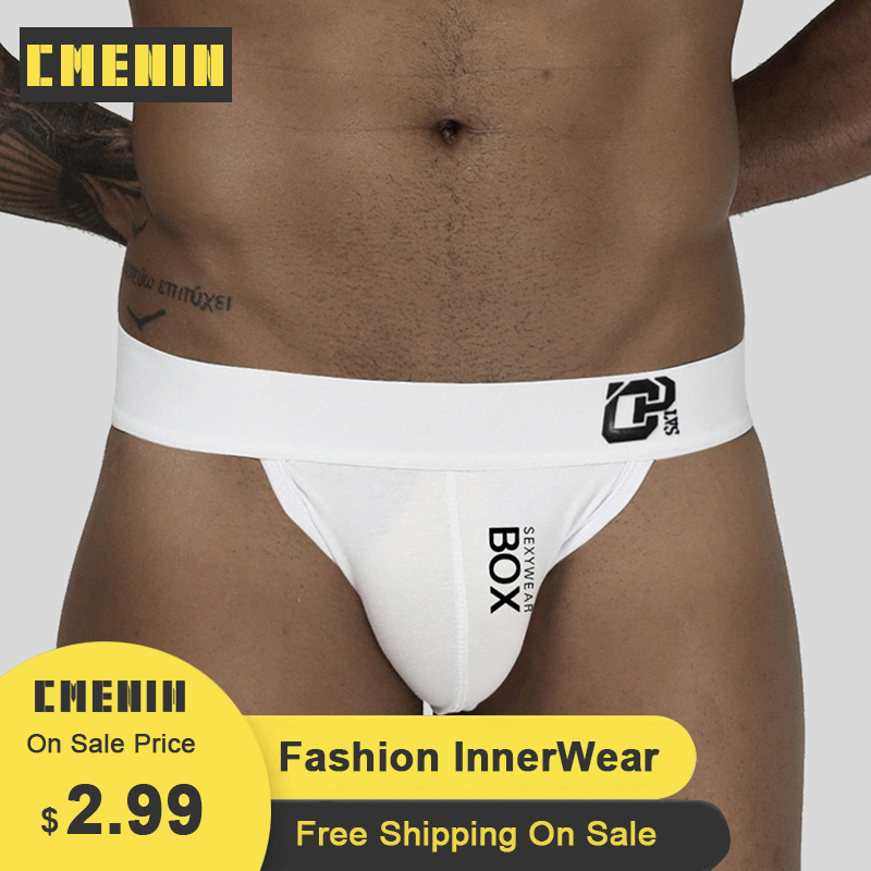 CMENIN Gay Men Underwear Thongs Cotton Print Breathable Cueca Male Panties Fashion Lingeries Plus Size Jockstrap Briefs OR213