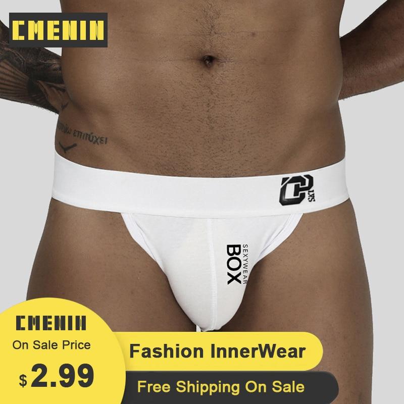 CMENIN Gay Men Underwear Thongs Cotton Print Breathable Cueca Male Panties Fashion Lingeries Plus Size Jockstrap Briefs OR213