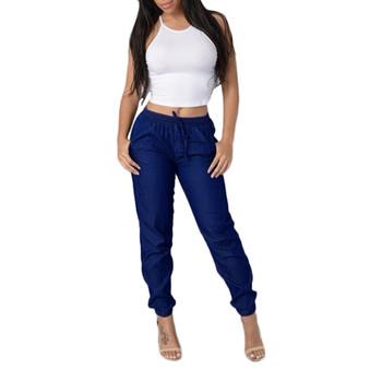 2020 dżinsy damskie dżinsy w pasie dorywczo spodnie wysokiej talii dżinsy niebieska w stylu Casual spodnie dżinsowe dorywczo dopasowane dżinsy джинсы женские tanie i dobre opinie WHooHoo Poliester Pełnej długości CN (pochodzenie) Osób w wieku 18-35 lat 2433245345 Na co dzień Zmiękczania Przycisk fly