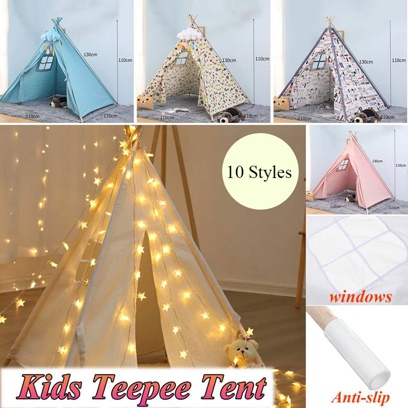1.3m Large Canvas Teepee Castle Children's Tent With Grey Pom Poms Indian Play Tent House Children Tipi Indoor Tents Without Mat