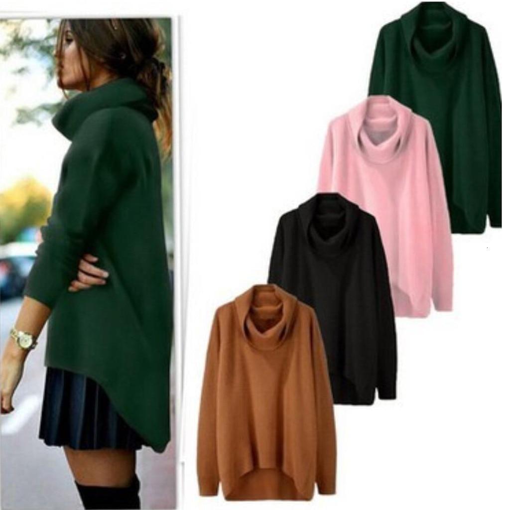 Women Baggy Sweater Women Solid High Collar Irregular Hem Long Sleeve Pullover Loose Turtleneck Sweater Women Pullovers #20