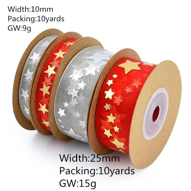 Wholesale 5 20Yards 10mm 25mm organza Printed Stars ribbons Hair Bow Christmas wedding DIY Craft gift decoration in DIY Craft Supplies from Home Garden