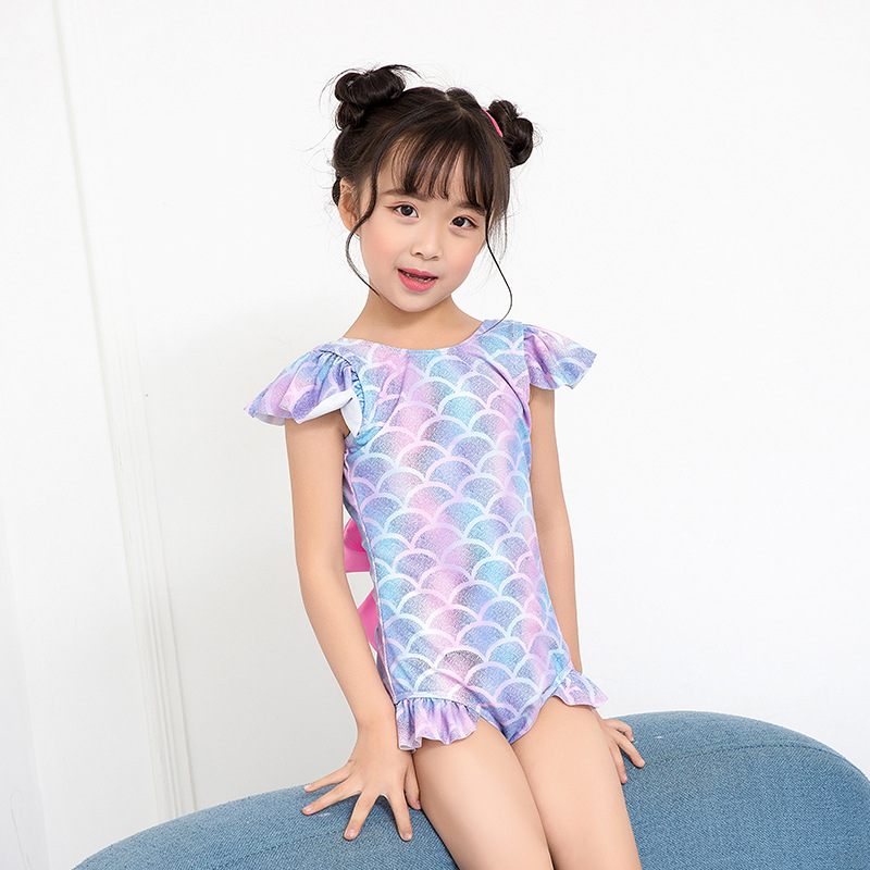 KID'S Swimwear Girls Cute Mermaid Bow Children Baby Girls One-piece CHILDREN'S Swimsuit