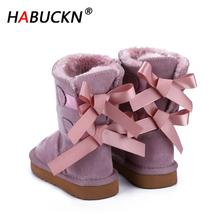 HABUCKN 2020 fashion High Quality Children winter snow boots genuine leather boots Lace up bow-knot boots kids cute Pretty shoes
