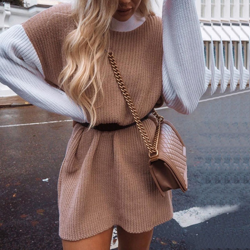 Female Sweater Jumper Pullover Pink Casual-Lantern-Sleeve Sexy Dress Patchwork Knitted