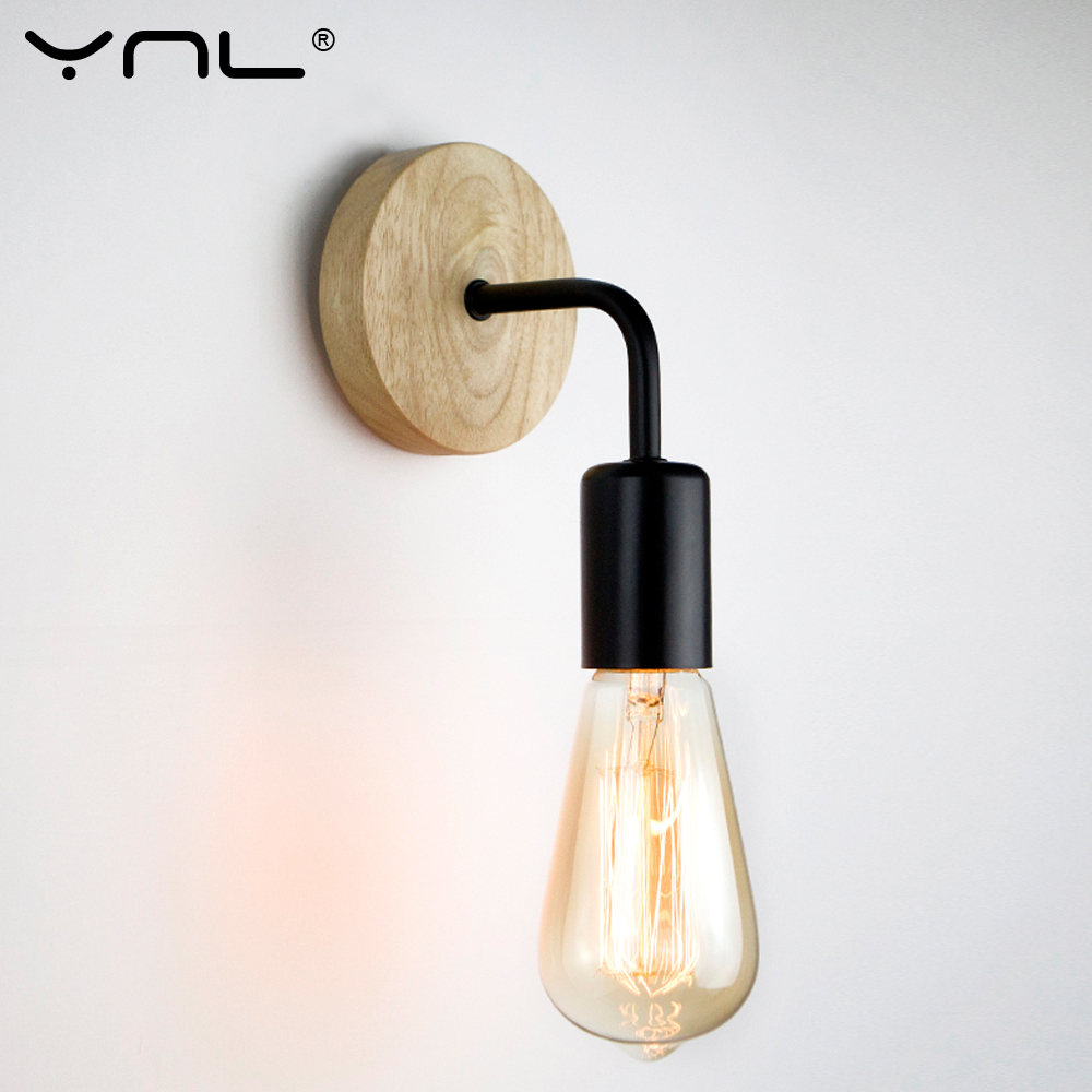 De madera Industrial lámpara de pared para apartamento Vintage de pared Retro Decoración Luz Accesorios para sala interior apliques de iluminación decorativa