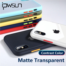 iPWSOO Matte Contrast Color Case For iPhone XR XS Max X Frosted Transparent Phone 7 8 Plus Hard PC Cover Fundas
