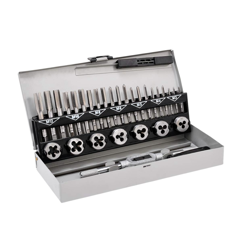 Tap And Die Set Metric Hardened Steel Combination Garage Tool Kit With Box -32Cs