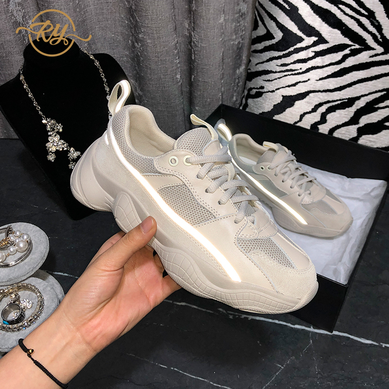 RY-RELAA womens sneakers 2020 fashion Genuine Leather chunky sneakers INS wedge sneakers glitter sneakers women casual shoes