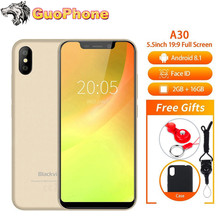 BLACKVIEW A30 Phone 5.5″ 19:9 Full Screen MTK6580A Quad Core Android 8.1 2GB+16GB Dual SIM Face ID 8.0MP Dual Camera SmartPhone