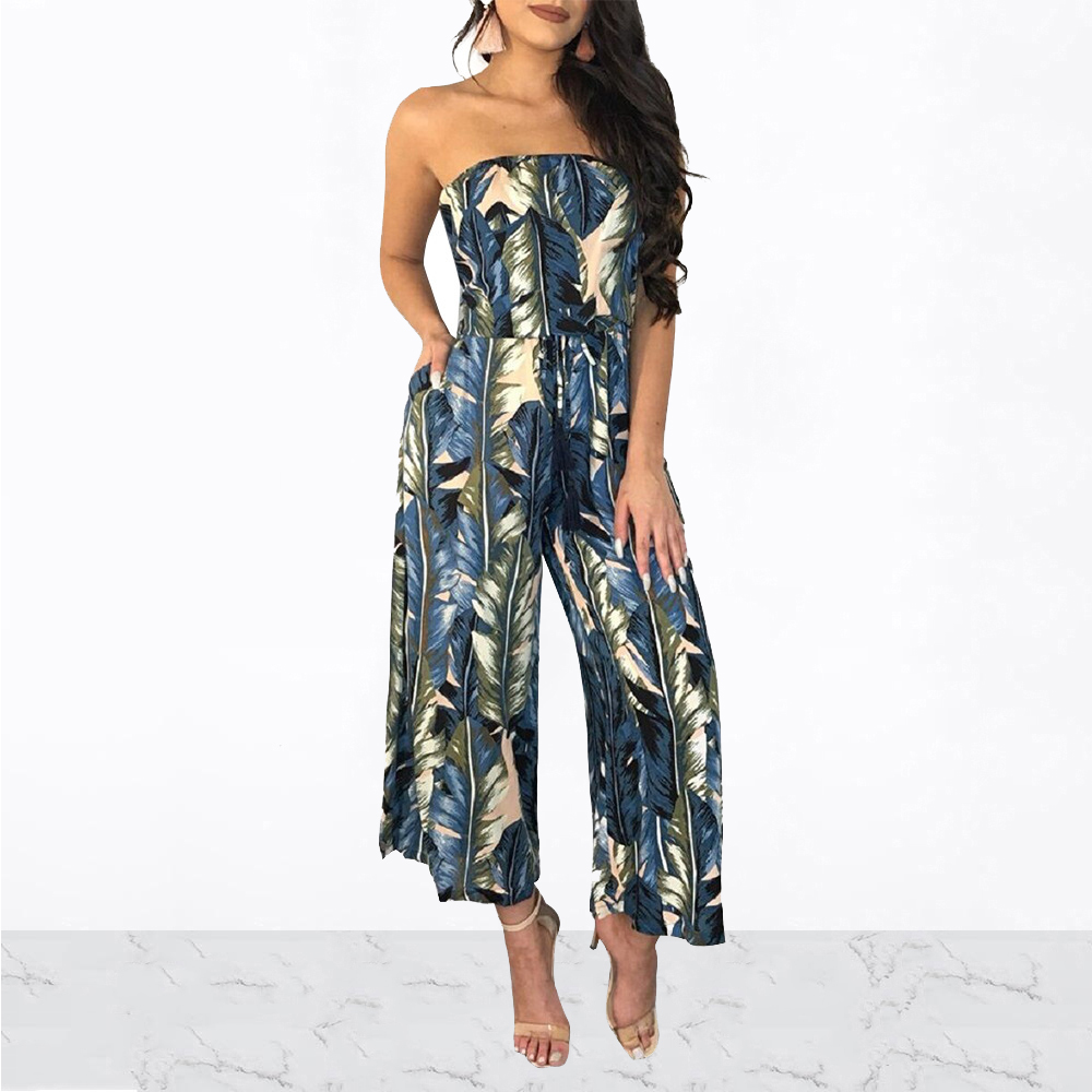 Women Sexy Strapless Off Shoulder Leaf Printed Loose Jumpsuits Summer Beach High Waist Wide Leg Pants Rompers One Piece Overalls