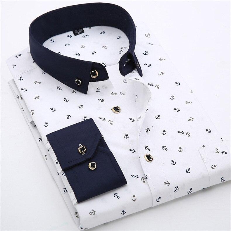 camisa branca com gola preta, CAMISA MARINHEIRO SOCIAL MASCULINA SLIM COM DESENHO DE ÂNCORA cor branca
