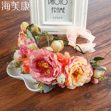 Haimeikang Rose Peony Flower Crown Girl Bridal Floral Headband Wreath Wedding HairBands Hair Accessories Women Bridesmaid Diadem