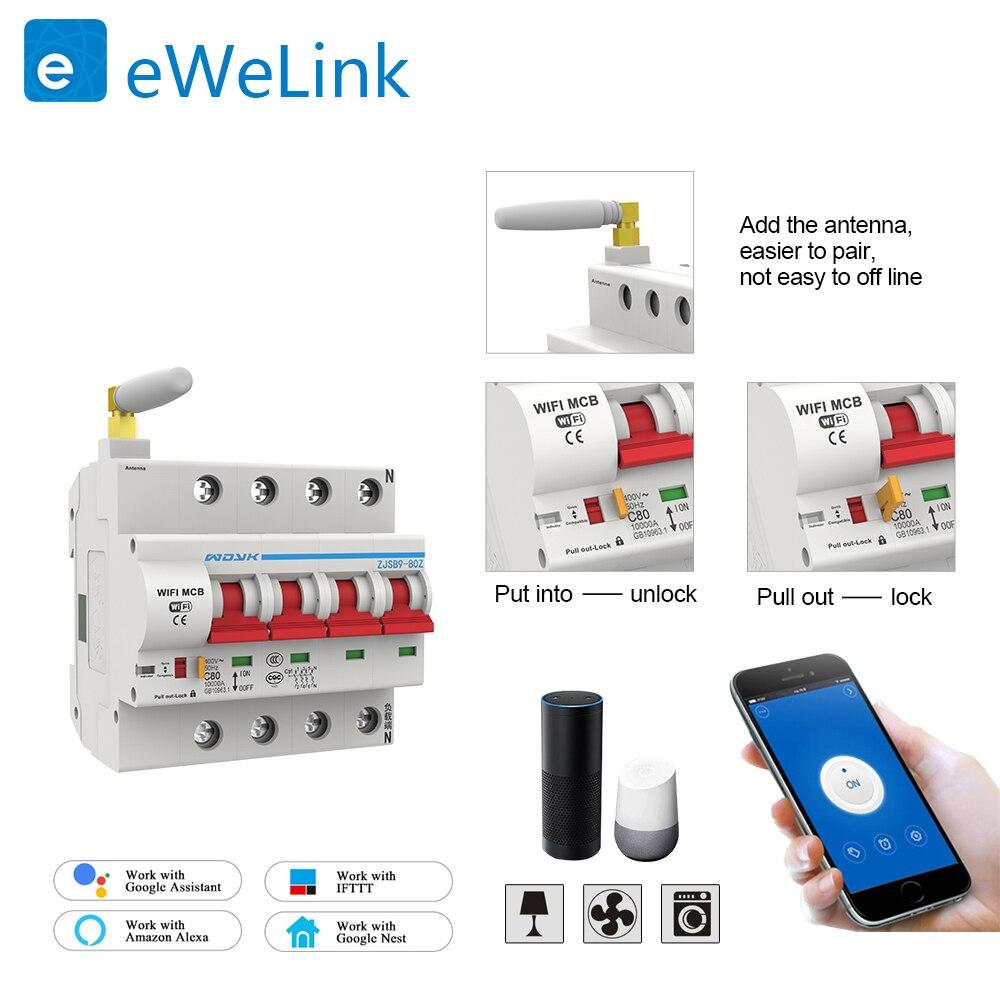 Protection de court-Circuit de surcharge de disjoncteur intelligent de WiFi de 220V 4P avec Amazon Alexa pour la maison intelligente