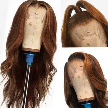 Eversilky 360 ludzki włos koronki przodu peruki ciało fala podkreśla peruka Pre oskubane brazylijski Remy ludzki włos peruki blond kolor tanie i dobre opinie Remy włosy Średni brąz Średnia wielkość Ciemniejszy kolor tylko Swiss koronki Brazylijski włosy 360 Lace Frontal Wig