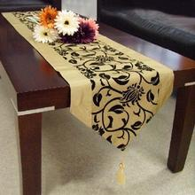 Table Runner Tablecloth-Accessorie Flower Wedding-Decoration Party Flocked Raised Damask