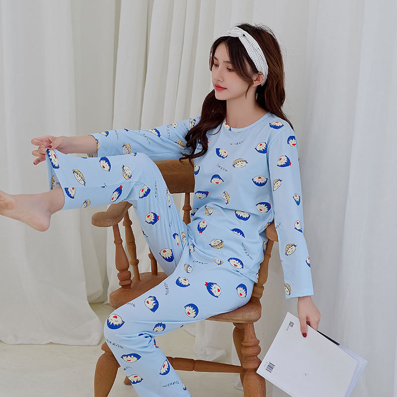 Cartoon Cute Small Balls Pajamas Women Long Sleeve Trousers Sweet Fresh Women's Home Wear Spring And Autumn Thin Set