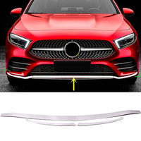 Fit For Mercedes Benz A Class W177 AMG Line 2019 2020 Car Styling Chrome Front Bottom Bumper Lid Cover Strip Trim 3pcs Accessory
