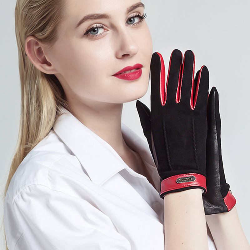 2020 Genuine Leather Women Gloves Female Two Tones Warm Plush Lined Suede Sheepskin Gloves Autumn Winter Gloves 3320