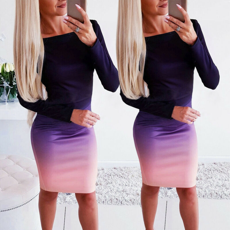 Office lady Elegant Dress Womens New Long Sleeve Ladies Stretch Bodycon Plain Dress Long Tunic Gradient Dresses OL Clothes 1