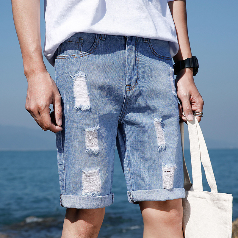 Korean-style Denim Shorts Men's Teenager Slim Fit Shorts Summer Casual With Holes Trend Beggar 5 Pants Men's