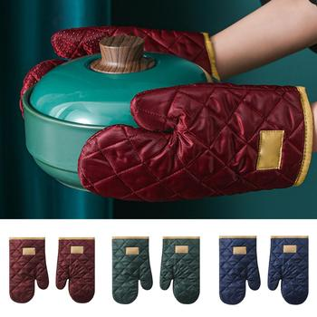 2Pcs Anti-heat Gloves Merged Skidproof Polyester Baking Oven Mittens for Microwave image