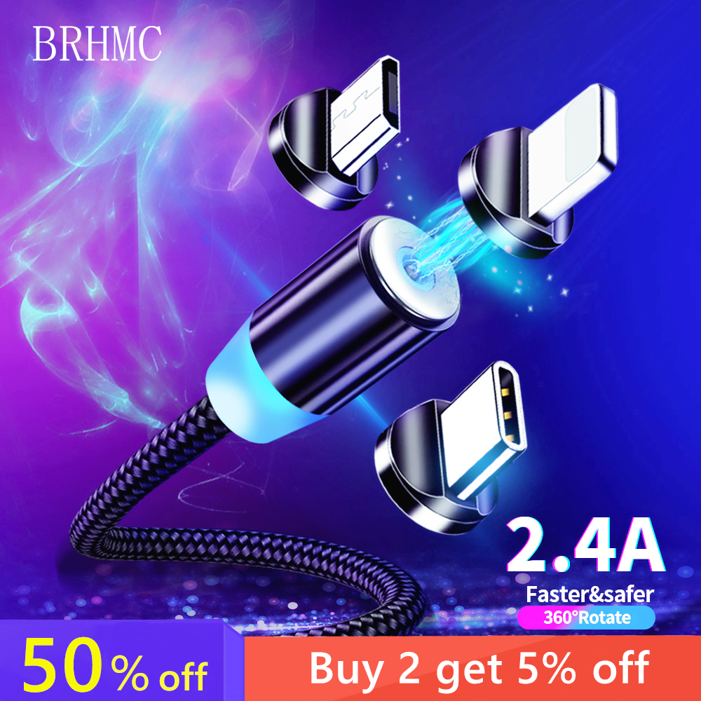 BRHMC Magnetic Micro USB Cable For IPhone Samsung Android Fast Charging Magnet Charger USB Type C Cable Mobile Phone Cord Wire