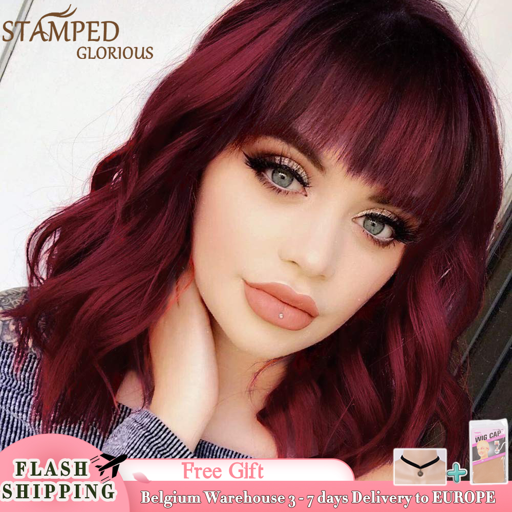 Stamped Glorious Synthetic Short Bob Wigs Red Wavy Wig With Bangs Synthetic Heat Resistant Fiber Hair Short Wigs for Black Women