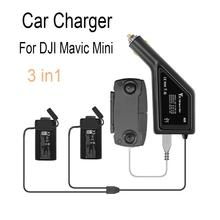 3 in1 Mavic Mini Car Charger Portable for DJI Mavic Mini Drone Battery Remote Controller Travel Outdoor Charging Adapter