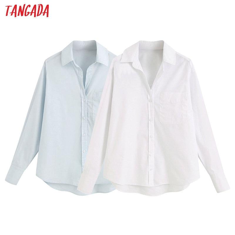 Tangada frauen grundlegende solide weiß shirts langarm solide elegante büro damen arbeiten tragen blusen 6Z01