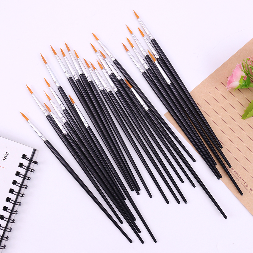 Fine Hand Painted Thin Hook Line Pens Black Art Supplies Drawing Art Pen Paint Brush Nylon Brush Painting Pen 10 PCS/Set