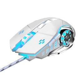2500 DPI profesjonalne przewodowa mysz do gier oddech podświetlenie ledowy USB optyczny mysz komputerowa wyciszenie mechaniczne myszka do PC Laptop