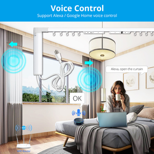 Image 4 - Zemismart New Design WiFi Curtain Motor Tuya Smart Life Customized Electric Curtains Track with RF Remote Alexa Echo Control