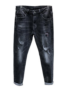 Ripped Jeans Pants Patched Stretch Hip-Hop Super Skinny Casual Mens Distressed Tapered