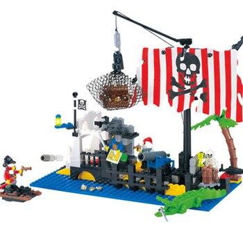 Enlighten 302 DIY Fight Inserted Plastic Assembled Building Blocks Pirates Sunken Boat Model Educational Toys for Children Legoe