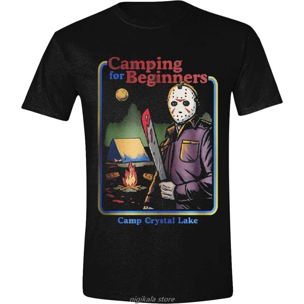 T-shirt Freddy vs. Jason Friday the 13th Camping for Beginners maglia Uomo Brand T Shirt Men  Fashion Text