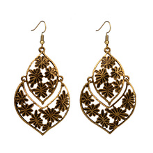Antique Gold Tone Earrings For Women Girls Carved Leaf Flower Vintage Ethnic Drop Dangle Earings Wholesale Jewelry Gift mythic age gold color ethnic chinese element cloisonne enamel leaves dangle earrings wholesale jewelry for women girls new