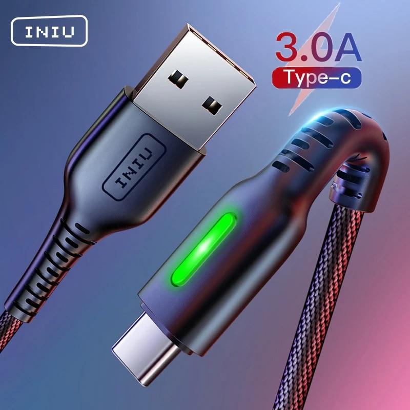 INIU 3A USB C кабель для быстрой зарядки Type C Android мобильный телефон зарядное устройство USB-C шнур для передачи данных для Xiaomi Redmi note 9 8 Samsung S20 S10