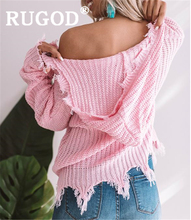 RUGOD Women solid knit hoodies v neck tassel loose plus size knitted pullovers 2019 new autumn snow fashionable femme elegant