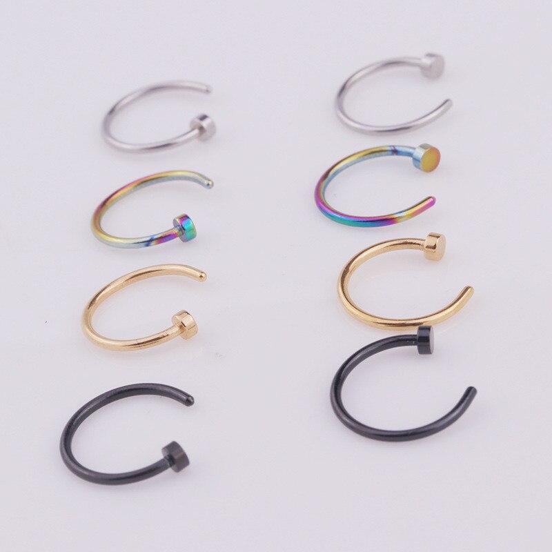 1 pc/lote 6/8/10mm punk aço inoxidável falso nariz anel c clip lábio anel brinco helix rook tragus falso septo corpo piercing jóias